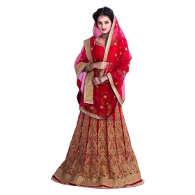Creation Red Bangalore Silk Circular Semi Stitched Lehenga