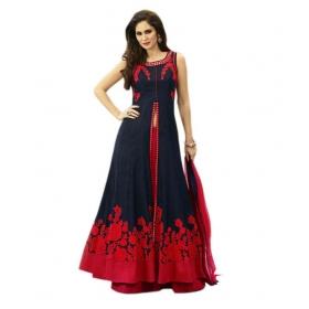 Blue Bangalore Silk Circular Semi Stitched Lehenga