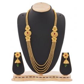 Jewellery Multistrand Golden Necklace Set For Women