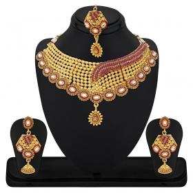 Zinc Gold Plating Crystal Studded Gold Coloured Necklaces Set
