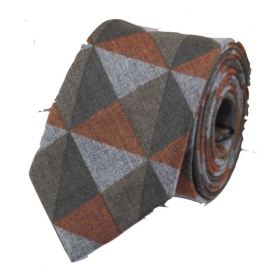 Regali Collections Brown Geometrical Woven Necktie