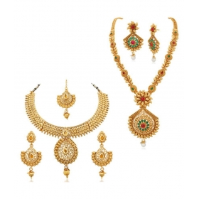 Jewellery Golden Necklace Set For Women - Pack Of 2