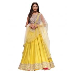 Yellow Bangalore Silk A-line Semi Stitched Lehenga