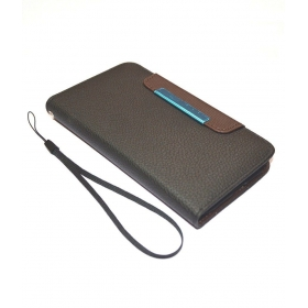Lenovo A850 Leather Flip Case Cover Pouch Table Talk Wallet Black