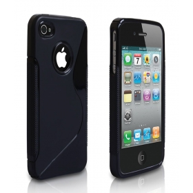 Silicone Rubber Soft Back Case Cover For Apple Iphone 4 4s 4g Black