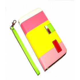 Samsung Galaxy S5 I9600 Leather Flip Designer Stripe Wallet Case Cover Pouch Table Talk New Yellow