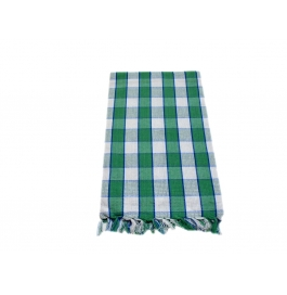 Tidy White With Green Colour Checked Design 100% Exclusive Cotton Bath Towel - Pack 1 Piece