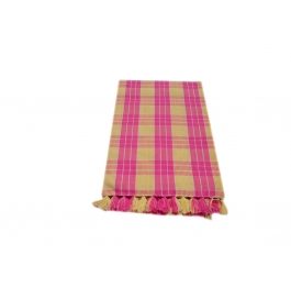 Tidy Yellow With Pink Checked Design 100% Exclusive Cotton Bath Towel - Pack 1 Piece