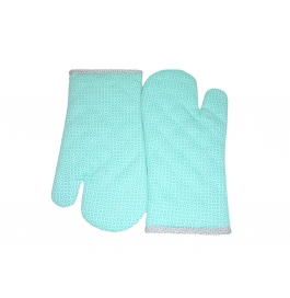 Tidy Mint Green Colour 100% Printed Cotton Micro Oven Hand Gloves - Pack Of 2pcs