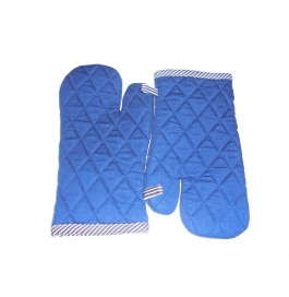 Tidy Blue Colour 100% Cotton Micro Oven Hand Glove - Pack Of 2pcs
