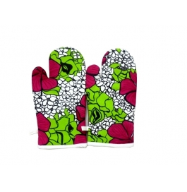 Tidy Multi Colour Printed Design Cotton Micro Oven Hand Glove - Pack Of 2pcs