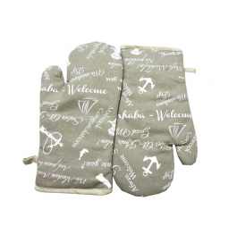 Tidy Grey Colour Printed Design Cotton Micro Oven Hand Glove - Pack Of 2pcs