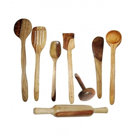 Desi Karigar Wooden Kitchen Tools (pack Of 8)
