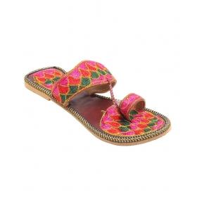 Multicolor Fabric Flat Open Toe Sandal For Women
