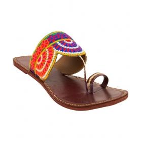 Multicolour Kolhapuri Flat Slip-ons