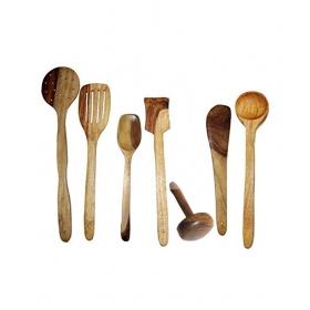 Desi Karigar Wooden Ladles Set Of 7 Pcs