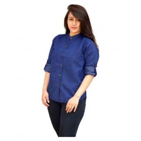 Full Sleeves Denim Shirt For Ladies