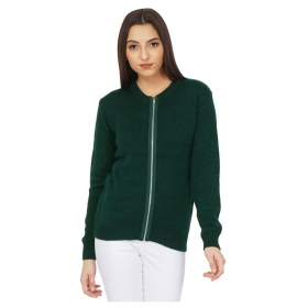 Acrylic Green Zippered Cardigans