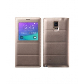 Samsung Leather Flip Cover For Samsung Galaxy Note 4 - Golden