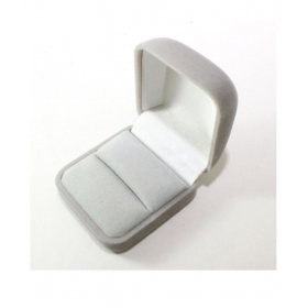 Grey Velvet Wedding Ring Bearer Jewelry Display Gift Storage Box Case Holder