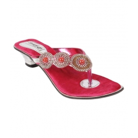 Pink Block Ethnic Footwear