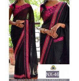 Sas Creations Indian Designer Saree With Blouse Piece
