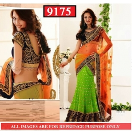 Sas Creations Georgette Green Saree