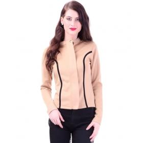 Contrast Binding Beige Jacket