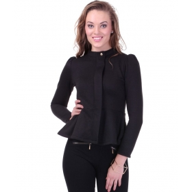 Turtle Neck Black Peplum Fleece Jacket