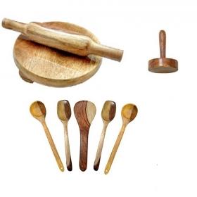 Desi Karigar Wooden Skimmers Set With Chkla Belan And Masher
