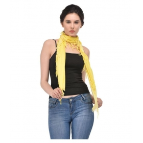 Scarves & Glitters Yellow Solid Rayon Scarves
