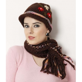 Brown Floral Embroidered Muffler Cap