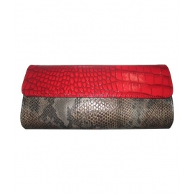 Red-grey Snake & Croc Finish Clutch
