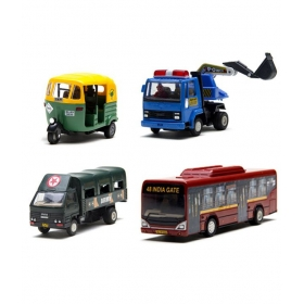 Centy Tuk Tuk Auto, Excavator Ashok Leyland, Lower Floor Bus & Army Truck Dcm - Combo 5