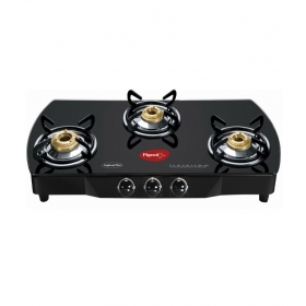 Pigeon Brass Black 3 Burner Glass Top