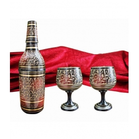 Carved Hand Painted Bottle Holder With 2 Wine Glass
