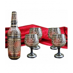 Carved Hand Painted Bottle Holder With 4 Wine Glass