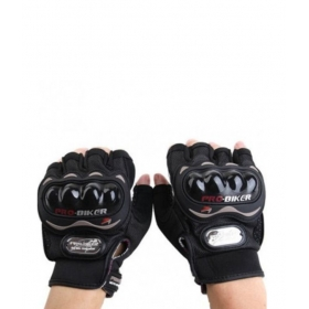 Probiker Motorcycle Half Cut Finger Bike Bicycle Gloves - Black Colour Size Xl
