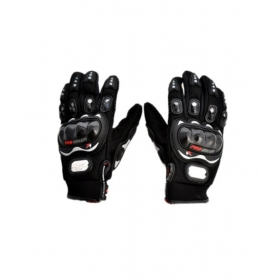 Genuine Leather Motorcross Bike Racing Riding Gloves - Black