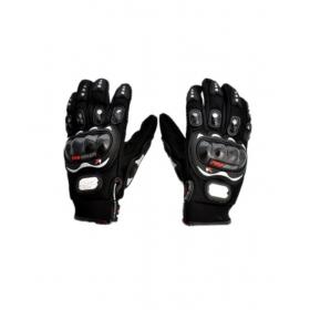 Genuine Leather Motorcross Bike Racing Riding Gloves - Black