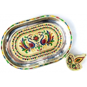 Royals Handicraft Rajasthani Meena Worked Stainless Steel Serving Tray With Sindoor Dani For Festive Occassion And Gifts , Home Decor (1 Tilak Chopra , 1 Serve Tray)