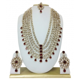 Designer Silver & Maroon Alloy Necklace Set