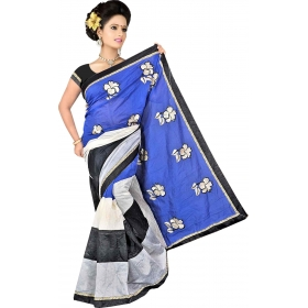 Women Blue Saree With Blouse Piece