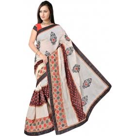 Women White Saree With Blouse Piece