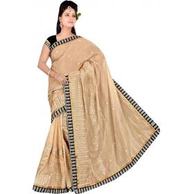 Women Creem Saree With Blouse Piece