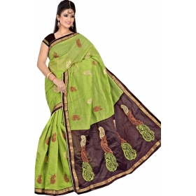 Women Green Saree With Blouse Piece