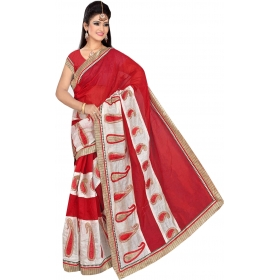 Women Red Saree With Blouse Piece
