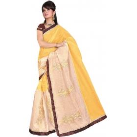 Women Yellow Saree With Blouse Piece
