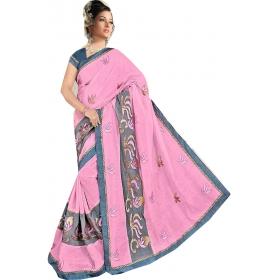 Women Pinksaree With Blouse Piece