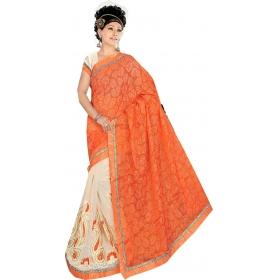 Women Orange Saree With Blouse Piece